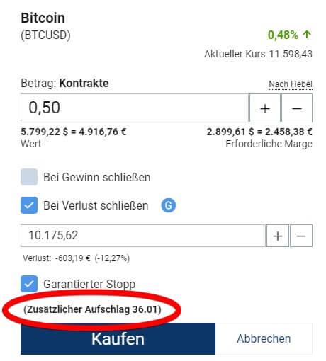 Plus500 Orderticket - Bitcoin Gebühr für garantierte Stop Loss Orders