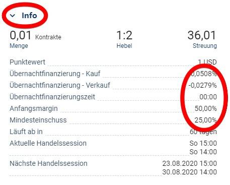 Finanzierungskosten des Bitcoin in der Info vom Plus500 Orderticket