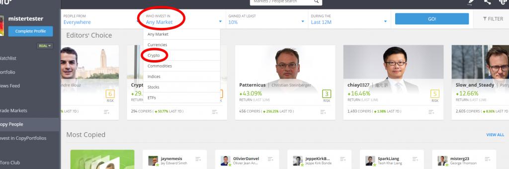Benutzeroberfläche der eToro Copytrader Plattform. Eingekreist ist das Dropdown-Menü, in dem man die Assetklasse auswählen kann