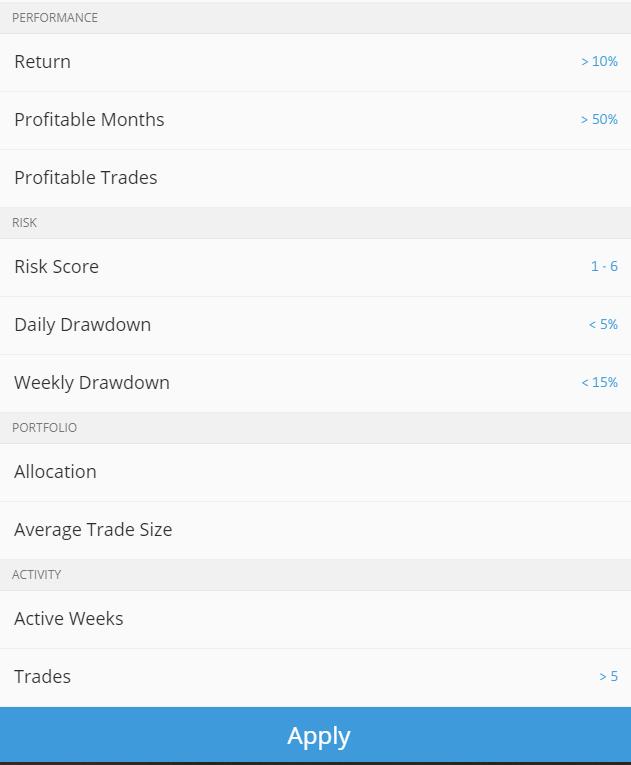 Ausschnitt aus der Lister der Filter für Trader in der eToro Copytrader Plattform