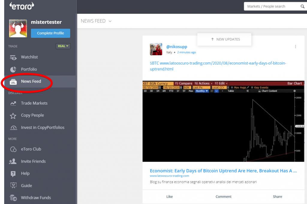 Newsfeed der eToro Benutzeroberfläche